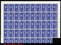 Lot 3275 [1 of 2]:1955 USA Memorial BW #325b sheet of 80, with left centre perf pips, missing unit at [5/10], row 5 has a light horizontal crease near top.
