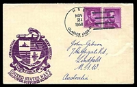 Lot 18885:1958 use of USA 4c purple Lincoln pair cancelled with 'USS/NOV/21/1958/GLACIER (AGB-41)