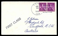 Lot 18886:1959 use of 4c purple Lincoln pair, cancelled with 'U.S. NAVY/JAN/24/1959/17038' (A1-, NAF Mc Murdo Sound, Antarctica) on Gibson cover with straight-line 'FIRST CLASS' (A1), backstamped with straight-line 'NAF McMURDO SOUND/ANTARCTICA' (B1).