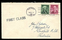 Lot 16539:1959 use of 7c carmine Wilson & 1c green Washington, cancelled with 'U.S.NAVY/DEC14/1959/17038 BR' on Gibson cover with straight-line 'FIRST CLASS' (A1-), backstamped with 'U.S.NAVAL SUPPORT UNITS/ANTARCTICA/[map]/DEEP FREEZE' (A1) in purple & '[globe logo]/U.S. NAVY - OPERATION DEEP FREEZE' (A1-) in purple.