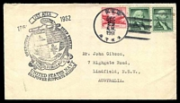 Lot 18887:1961 use of USA 6c red Airmail & 1c green Washington x2, cancelled with 'U.S.S./DEC/29/A.M./1961/ATKA' (A1) on Gibson cover with '1961 USS ATKA 1962/OPERATION DEEP FREEZE/[logo]/TASK FORCE 43/UNITED STATES NAVY/SEAPOWER SUPPORTS SCIENCE' (A1-).