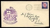 Lot 16540:1961 use of USA 8c carmine & blue Liberty cancelled with 'BYRD STATION, ANTARCTICA/NOV20/8AM/1961/U.S.N.' (A1) on Gibson cover with 'OPERATION DEEP FREEZE/[logo]/TASK FORCE 43/UNITED STATES NAVY/SEAPOWER SUPPORTS SCIENCE' (A1-) in purple.
