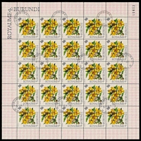 Lot 19809:1968 Flowers Sc #156 150f Markhamia sheet of 25, Cat $11, with 'USUMBURRA/26-7-66 9/*[posthorn]*' (A1) CTO cancellation, vertical crease between 3rd & 4th columns.