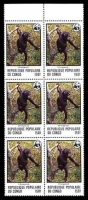 Lot 3675:1978 WWF Sc #456 150f Chimpanze, block of 6, Cat $30.
