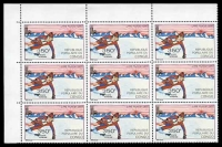 Lot 3478:1980 Lake Placid Winter Olympics SG #C264 350f Downhill Skiing, corner block of 9, Cat £20.