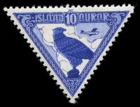 Lot 3644:1930 Triangular Airmail SG #163 10a blue Eagle, Cat £22.
