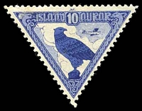 Lot 3870:1930 Triangular Airmail SG #173 10a blue Eagle, Cat £22.