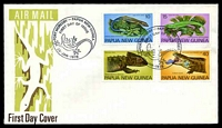 Lot 24145:1978 Fauna Conservation - Skinks set of 4 on unaddressed illustrated FDC cancelled with 'PORT MORESBY - PAPUA NEW GUINEA/FIRST DAY OF ISSUE[lizard]/25-JAN-1978' (A1).
