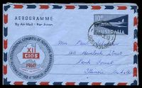 Lot 3860:1959 12th International Congress of Scientific Management BW #A14 10d red & blue on blue, cancelled with 'IPSWICH/3P24JE60/QUEENSLAND' (A1-), to Illinois, USA.