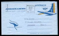 Lot 4376:1967 Tail of Aeroplane Overseas Service BW #A28 10c blue & pale orange, cancelled with 'MELBOURNE/25JAN/1215PM8/VIC. AUST.' (A1), to Jerusalem, Israel.