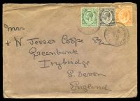 Lot 22264:Mau Summitt: 'MAU SUMMIT/NO28/28/KENYA', cancelling 5c green, 10c black & 20c orange KGV's on cover to Irybridge, South Devon, 20c has torn TLC.