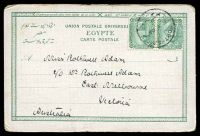 Lot 474 [2 of 2]:Egypt: Carlo Mieli Coloured PPC of 'PORT SAID. RUE DU COMMERCE', franked with 2m green x2, cancelled with light Port-Said of 1905, to East Melbourne, Vic.