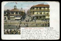Lot 474 [1 of 2]:Egypt: Carlo Mieli Coloured PPC of 'PORT SAID. RUE DU COMMERCE', franked with 2m green x2, cancelled with light Port-Said of 1905, to East Melbourne, Vic.