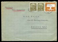 Lot 24855:1958 use of 20f orange Europa & 5f olive pair, cancelled with 'SAARBRÜCKEN 2/6.6.58-22/d' (A1-), on cover to London.