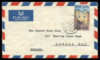 Lot 24956:1957 35m map, cancelled with cds of 2FEB1957, on air cover to London, edge wear.