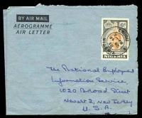 Lot 26741:1958 use of 6d orange-brown & grey Ife Bronze, cancelled with double-circle 'ENUGU/7PM/14NO/58/NIGERIA', on aerogramme to New Jersey, USA.