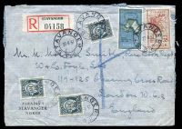Lot 4140:1957 use of 65ø & 35ø Geofysisk & 10ø green-slate Posthorn x3, cancelled with double-circle 'STAVANGER/22·8·57/B.K.' (A1), on registered cover to London, GB, with black & red registration label.