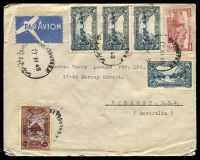 Lot 24953:1945 use of 50p red, 5p blue-green x4 & 30c brown, cancelled with bilingual 'BEYROUTH R.P./17XI45/' (B1-), on cover to Pyrmont, NSW.
