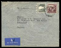 Lot 27087:1942 use of 50m deep dull purple & 10m grey, cancelled with 'TEL-AVIV/10AM/17FEB/1942' machine, on air cover to New Barnet, Herts, GB.