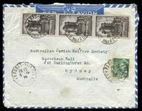 Lot 19771:1939 use of 10f brown on blue Vincennes x3 & 25c green Mercury, cancelled with 'PARIS·VIII/1815/6-5/39/49.R.DELA BOETIE' (B1), on air cover to Sydney, NSW.