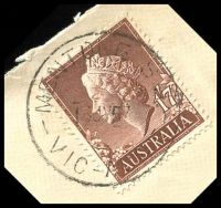 Lot 2596 [1 of 3]:Mentone: - WWW #60A 'MENTONE S.11/16JY57/VIC-AUST' (arcs 2½,3) on 1/7d brown QEII on cover to Melbourne with blue C6 registration label, mild insect damage to TLC. [Rated 2P]  PO 16/5/1884.
