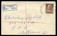 Lot 2646 [2 of 3]:Oakleigh (1): - WWW #140A 'OAKLEIGH S.E.12/2DE58/VIC-AUST' (A1 backstamp, arcs 1½,1½) on 1/7d brown QEII on cover to Melbourne with blue C6 registration label.  PO 1/8/1854; replaced by Oakleigh Delivery Centre DC 27/9/1993.