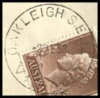 Lot 2646 [1 of 3]:Oakleigh (1): - WWW #140A 'OAKLEIGH S.E.12/2DE58/VIC-AUST' (A1 backstamp, arcs 1½,1½) on 1/7d brown QEII on cover to Melbourne with blue C6 registration label.  PO 1/8/1854; replaced by Oakleigh Delivery Centre DC 27/9/1993.