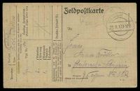 Lot 22614:1917 use of Feldpostkarte, cancelled with double-circle 'K.D. Feldpost/28.8.17.9-10V/' (A1), to Leipzig, with very light oval '5. K?????ERT/NO 104 ???