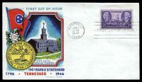 Lot 4527:1946 Tennessee Sesquicentennial 3c purple on Fluegel FDC cancelled with 'NASHVILLE/JUN1/9AM/1946/TENN.' FDoI, unaddressed.