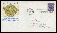 Lot 4498:1946 WWII Veterans 3c purple on illustrated FDC, cancelled with 'WASHINGTON/MAY9/9AM/1946/D.C.' FDoI, neat pencil address.