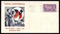 Lot 4497:1936 Texas Centennial 3c purple on illustrated FDC cancelled with 'GONZALES/MAR2/9AM/1936/TEXAS', unaddressed.