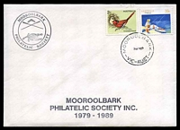 Lot 4940:1989 Mooroolbark Philatelic Society Mooroolbark Philatelic Society 1979-1989 cover franked with 39c Fishing & 2c Crimson Finch, cancelled with 'MOOROOLBARK/7NO89/VIC-AUST' (A1) on unaddressed cover with Mooroolbark PS logo.