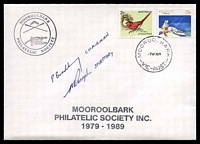 Lot 4939:1989 Mooroolbark Philatelic Society Mooroolbark Philatelic Society 1979-1989 cover franked with 39c Fishing & 2c Crimson Finch, cancelled with 'MOOROOLBARK/7NO89/VIC-AUST' (A1) on unaddressed cover with Mooroolbark PS logo signed by Society Chairman & Secretary.