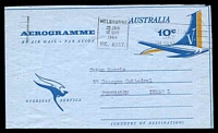 Lot 3830:1967 Tail of Aeroplane Overseas Service ASC #A27 10c blue & pale orange, cancelled with 'MELBOURNE/25JAN/1215PM8/VIC. AUST.' (A1), to Jerusalem, Israel.