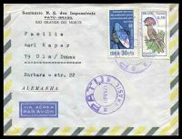 Lot 19653:1971 use of 50c Bird & 30c Satellite Communications, cancelled with double-circle 'PATU/DR 15FEV71 RN/BRASIL' (A1) in purple, on Rio Grandee do Norte air cover to Ulm, Germany.
