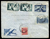 Lot 3455:1947 use of 100f blue Jupiter & Egine, 40f green Centaur x2, 10f blue Palais du Luxembourg & 1f carmine-red Ceres, cancelled with poor Paris of 5-6 47, on air cover to Sydney, NSW.