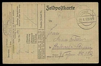Lot 3769:1917 use of Feldpostkarte, cancelled with double-circle 'K.D. Feldpost/28.8.17.9-10V/' (A1), to Leipzig, with very light oval '5. K?????ERT/NO 104 ???