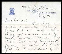 Lot 5304 [2 of 2]:1919 use of GB 1½d brown KGV, cancelled with double-circle 'PARK HOUSE CAMP P.O. SALISBURY/*/8AU/19' (A1-), on cover to London, letter included, on 41st Battery, Australian Field Artillery letterhead.