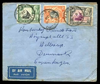 Lot 24317 [1 of 2]:Makuyu: double-circle 'MAKUYU/8JA/38/KENYA' on 5c, 20c & 50c KGV Pictorials, on air cover to Copenhagen, Denmark, with arrival backstamp of 17.1.38, some mild toning.