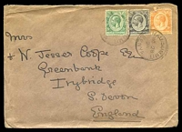 Lot 4266:Mau Summitt: 'MAU SUMMIT/NO28/28/KENYA', cancelling 5c green, 10c black & 20c orange KGV's on cover to Irybridge, South Devon, 20c has torn TLC.