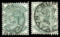 Lot 4375:1882-89 Wmk Crown/CA SG #97,97a ½d blue-green & ½d dull green, Cat £17.25.