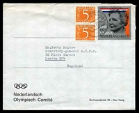 Lot 4420:1973 use of 40c Juliana Jubilee & 5c orange x2, cancelled with 's'GRAVENHAGE/26IX73-19/26', on Nederlandsch Olympisch Comité cover to London, GB.