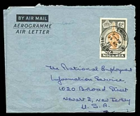 Lot 4454:1958 use of 6d orange-brown & grey Ife Bronze, cancelled with double-circle 'ENUGU/7PM/14NO/58/NIGERIA', on aerogramme to New Jersey, USA.