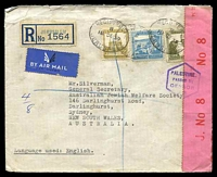 Lot 4504:1939 use of 100m turquoise-blue, 20m olive-green & 13m bistre, cancelled with oval 'REGISTERED/B/18DE39/JERUSALEM', on registered air cover to Sydney, NSW, sealed at right with 'PC 22./J. No 8/OPENED BY/CENSOR.' label in red on pink with hexagonal 'PALESTINE./PASSED BY/CENSOR/J.3' (A1-) in purple, backstamped with oval 'REGISTERED/20DE39/HAIFA' (A1-), 'TIBERIAS/B/21DE/39' (A1-) & 'WILLIAM STREET/6A 3JA40/N.S.W.' (A1-).
