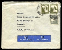 Lot 4062:1948 use of 20m olive-green x2 & 10m slate-grey, cancelled with poor 'TEL-AVIV/7/14AP/48', on air cover to Pyrmont, NSW.