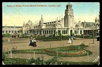 Lot 102 [1 of 2]:Great Britain - 1908 Franco-British Exhibition: Valentines coloured PPC of 'Palace of Music, Franco-British Exhibition, London, 1908', franked with ½d green KEVII, cancelled with double-circle Hampstead of SP25 08, to Distillery Creek, Tasmania, corner wear.