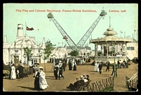 Lot 90:Great Britain - 1908 Franco-British Exhibition: Valentines coloured PPC of 'Flip-Flap and Colonial Bandstand, Franco-British Exhibition, London, 1908'.