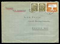 Lot 4285:1958 use of 20f orange Europa & 5f olive pair, cancelled with 'SAARBRÜCKEN 2/6.6.58-22/d' (A1-), on cover to London.
