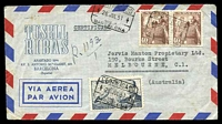Lot 4185:1951 use of 4p slate-blue Airmail & 40c brown pair, cancelled with boxed 'CERTIFICADO/4 26JUL51 4/SUC.1/BARCELONA' (A1), on Tusell Ribas air cover to Melbourne, Vic, backstamped with 'A.M.F. SYDNEY R.S.1/11A-6AU51/N.S.W·AUST' (A1-) & 'REGISTERED PERTH/8AUG51/WESTN AUSTRALIA' (B1), some light toning.