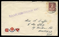 Lot 1603:Western Junction R.A.A.F. P.O.: - 'R.A.A.F. P.O. WESTERN JUNCTION/23SE42/TAS·AUST' on 1d red-brown QE on ACF cover to Ashfield, NSW, with straight-line 'R.A.A.F. CONCESSION RATE' (A1-) in purple, some light toning. [Rated 3R]  PO 14/10/1940; closed 31/5/1945.